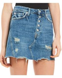 Free People - Blue We The Free Denim A-line Distressed Skirt - Lyst