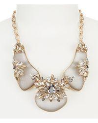 Belle By Badgley Mischka - Metallic Stone Frontal Necklace - Lyst