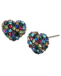 Betsey Johnson - Blue Pavé Heart Stud Earrings - Lyst