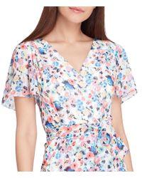 Tahari - White Printed Faux-wrap Dress - Lyst