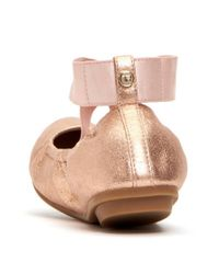 Taryn Rose - Pink Edina Metallic Leather Ribbon Cross Over Strap Ballerina Slip-ons - Lyst