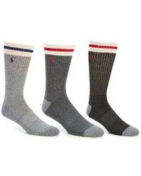 Polo Ralph Lauren - Gray Top Stripe Athletic Crew Socks 3-pack for Men - Lyst