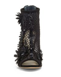 Jessica Simpson - Black Jayko Mesh Synthetic Flower Detail Open Toe Fishnet Booties - Lyst