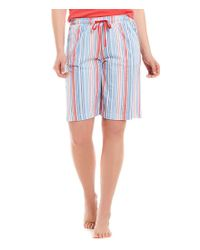 Karen Neuburger - Blue Stripe Bermuda Sleep Shorts - Lyst