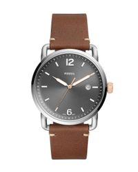 Fossil - The Commuter Three-hand Date Gray Dial Light Brown Leather Watch for Men - Lyst