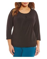 Calvin Klein | Black Plus Matte Jersey 3/4 Sleeve Top | Lyst