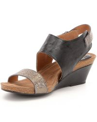 Söfft - Black Vanita Leather Slingback Wedges - Lyst