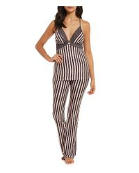 Betsey Johnson - Pink Striped Cozy Jersey & Lace Racerback Pajamas - Lyst