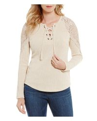 Democracy Natural Lace Up V-neck Crochet Insert Long Sleeve Top
