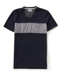 Calvin Klein - Blue Slim-fit Linear Stripe Short-sleeve V-neck Tee for Men - Lyst
