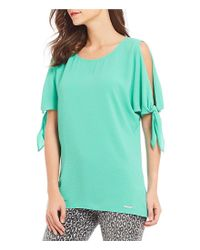 MICHAEL Michael Kors - White Cold Shoulder Tie Sleeve Tunic - Lyst