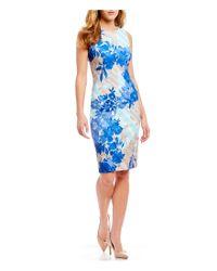 Calvin Klein - Blue Sleeveless Stripe Floral Print Sheath Dress - Lyst
