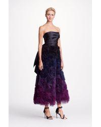 b2abe4673173 Marchesa notte Black Strapless Ombre Textured Midi Tea Gown in Black ...