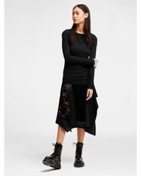 DKNY - Black Mixed Media Wrap Skirt - Lyst