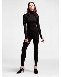 DKNY - Black Wool Turtleneck Bodystocking - Lyst