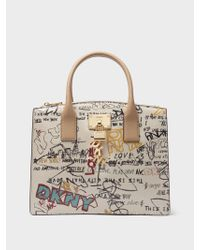 DKNY - White Elissa Pebbled Leather Tote - Lyst