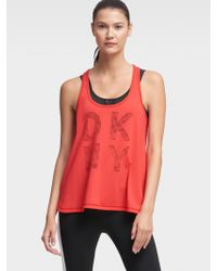 DKNY - Red Perforated Logo Tank - Lyst