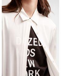 DKNY - White Stretch Silk Button Down - Lyst
