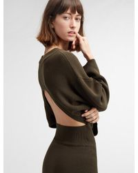 DKNY - Green Long Sleeve Crew Neck Midi Dress With Open Back - Lyst