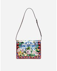 Dolce & Gabbana | Multicolor Printed Leather And Ayers Lucia Shoulder Bag | Lyst