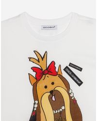 Dolce & Gabbana - White Printed Cotton T-shirt - Lyst