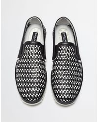 Dolce & Gabbana - Black Two-color Slip Ons In Braided Leather for Men - Lyst