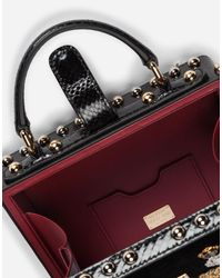 Dolce & Gabbana - Black Dolce Box Bag In Velvet With Embroidery - Lyst