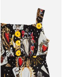 Dolce & Gabbana - Black Printed Cotton Overall - Lyst
