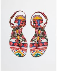 Dolce & Gabbana | Multicolor Printed Thong Sandal | Lyst