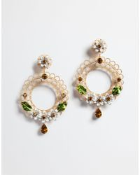Dolce & Gabbana - Metallic Earrings With Decorative Elements - Lyst