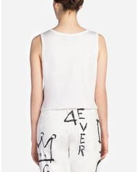 Dolce & Gabbana - White Sleeveless Printed Cotton T-shirt - Lyst
