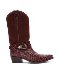 Donald J Pliner | Multicolor Signature Boa Matte Print Leather And Suede Western Boot | Lyst