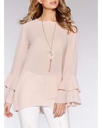 Dorothy Perkins - Quiz Pink Frill Sleeve Necklace Top - Lyst