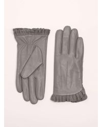 Dorothy Perkins - Gray Grey Leather Frill Gloves - Lyst