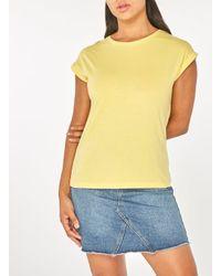 Dorothy Perkins - Yellow Lemon Roll Sleeve T-shirt - Lyst