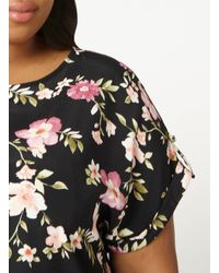 Dorothy Perkins - Dp Curve Black Floral Cuffed T-shirt - Lyst