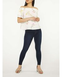 Dorothy Perkins - White Petite Buttermilk Floral Print Bardot Top - Lyst