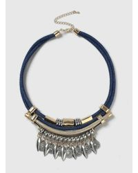 Dorothy Perkins | Blue Denim Bead Necklace | Lyst