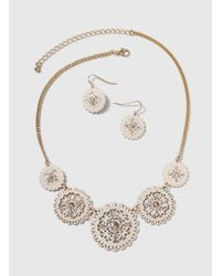 Dorothy Perkins - White Cut Out Filigree Necklace Set - Lyst