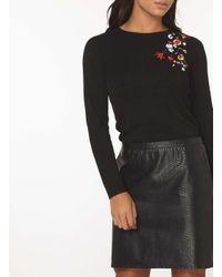 Dorothy Perkins - Black Flower Embroidered Jumper - Lyst
