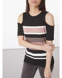 Dorothy Perkins | Black And Nude Cold Shoudler Top | Lyst