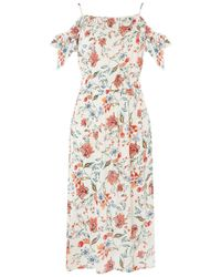 Dorothy Perkins - White Tall Ivory Floral Cold Shoulder Skater Dress - Lyst