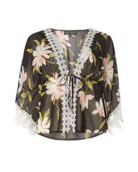 Dorothy Perkins - Mela Black Tropical Print Kimono - Lyst