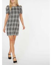 Dorothy Perkins - Gray Grey And Ivory Checked Shift Dress - Lyst