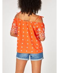 Dorothy Perkins - Orange Cold Shoulder Broderie Top - Lyst