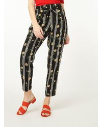 Dorothy Perkins - Black Floral Print Striped Joggers - Lyst