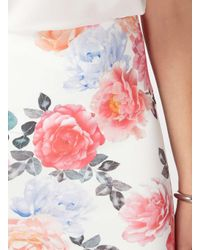 Dorothy Perkins - White Tall Pink Floral Pencil Skirt - Lyst