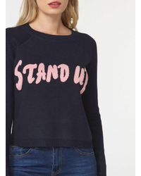 Dorothy Perkins - Blue Noisy May Navy Stand Up Knitted Top - Lyst