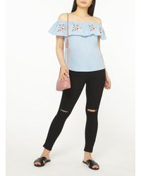Dorothy Perkins - Blue Petite Chambray Embroidered Bardot Top - Lyst
