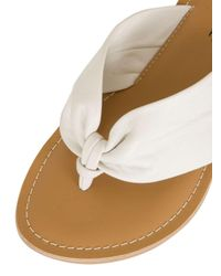 Dorothy Perkins - London Rebel White Ruched Toe Post Sandals - Lyst